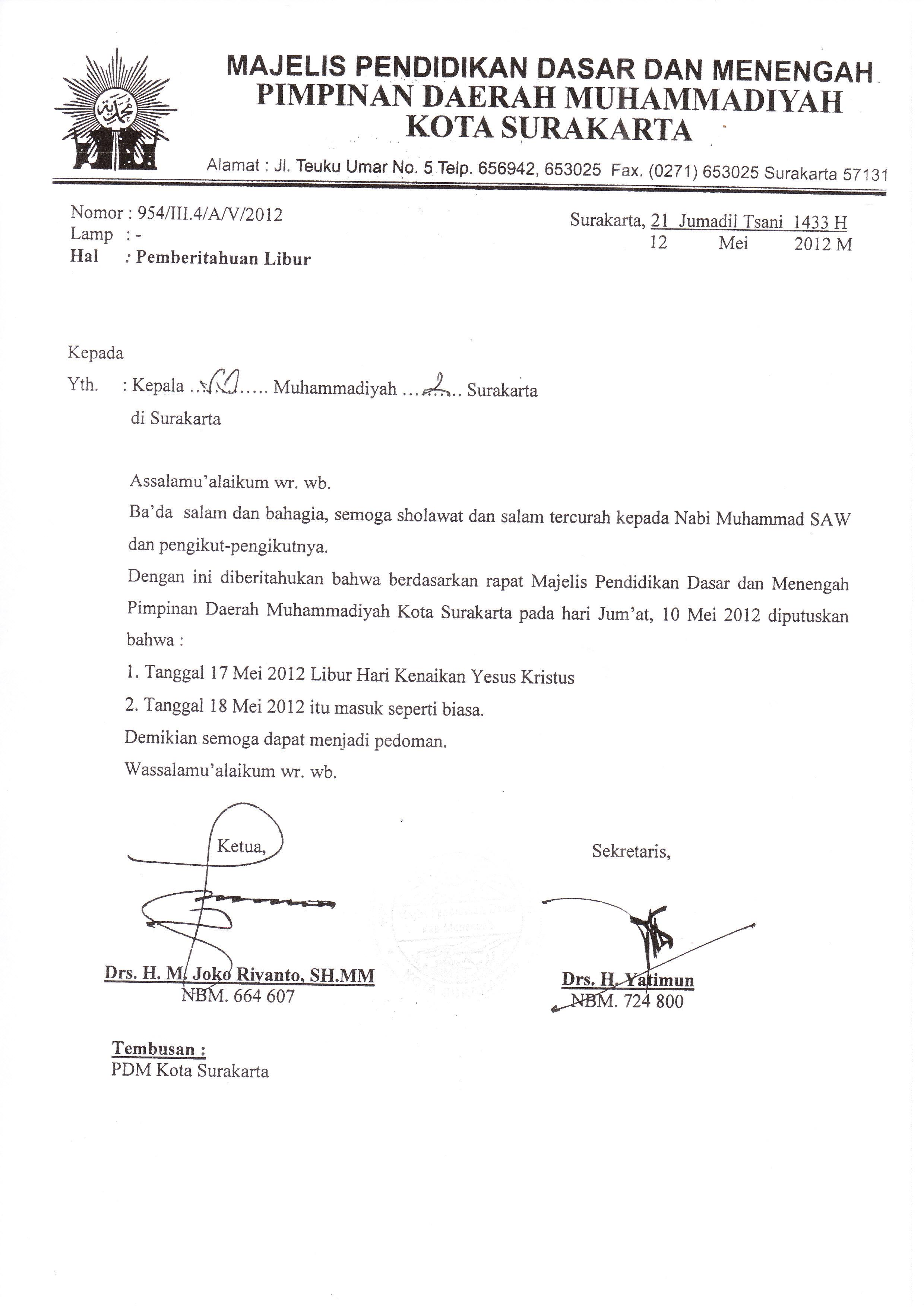 Pengumuman Pemberitahuan Libur Sd Muhammadiyah 2 Surakarta