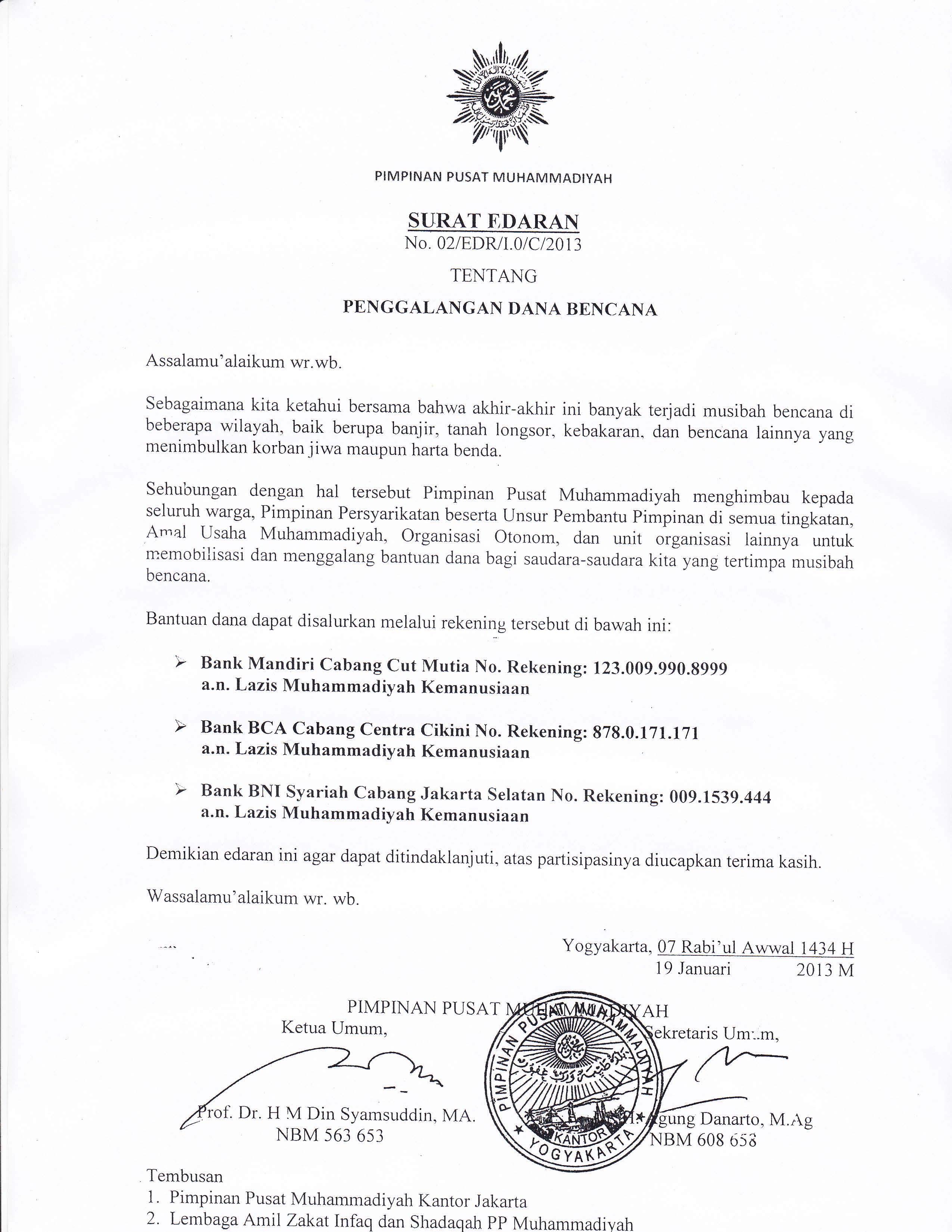 Pusat Muhammadiyah : SURAT EDARAN TENTANG PENGGALANGAN DANA BENCANA