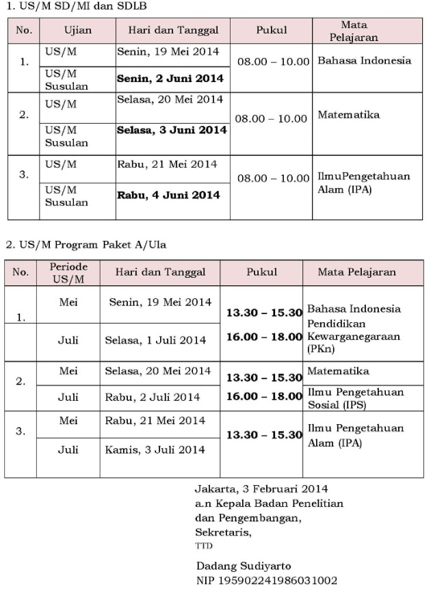 jadwal ujian SD revisi edit