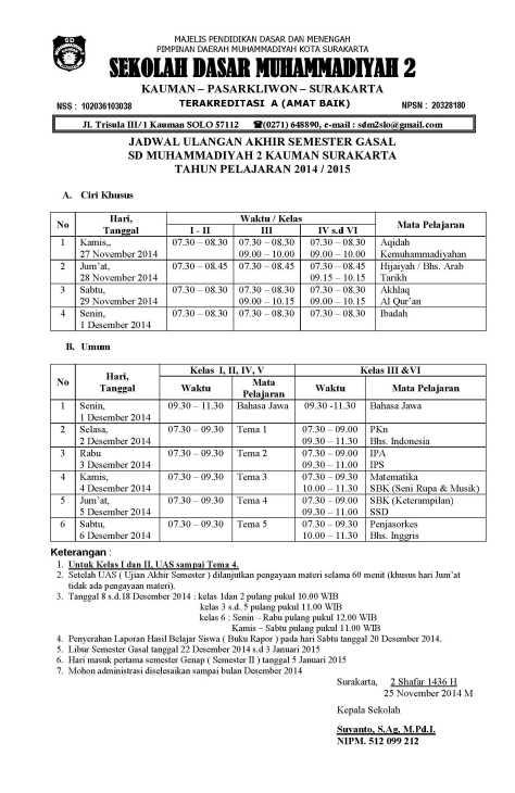 Jadwal UAS I 2014-2015